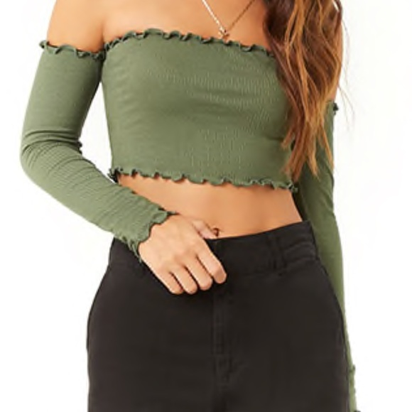 6b447822445 Forever 21 Tops | Rubbed Lettuce Edge Off The Shoulder Crop Top ...